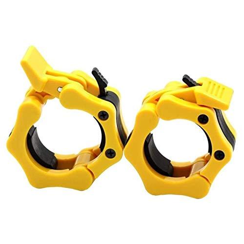 yijiang Nuevo Clip de Barra 1Pair 2 Pulgadas Peso Pensión Olímpica Levantamiento Olímpico Barbell Clip Gym Dumbbell Barbell Cuello Clip Anti-Skid Spin Lock Collars (Color : Yellow)