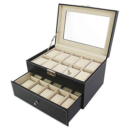 Todeco - Porta Prologi, Porta Bracciali - Dimensione: 28,5 x 20,5 x 15 cm - Materiale della Scatola: MDF - 20 Orologi con cassetto ed espositore, Nero/Beige
