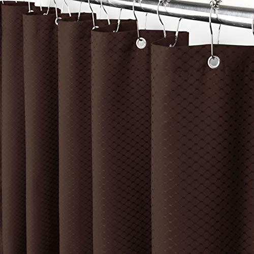 Eforcurtain Moderner schicker Duschvorhang mit Waffelmuster für Hotel, wasserdichter Badezimmervorhang, robuster Stoff, Schokoladenbraun, 183 x 183 cm