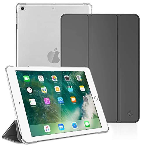 FINTIE Funda para iPad 9.7 (2018 2017), iPad Air 2, iPad Air - Trasera Transparente Carcasa Ligera con Función de Soporte y Auto-Reposo Activación, Gris Oscuro