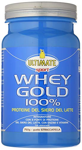 Whey Gold 100% - Proteine Del Siero Del Latte Isolate E Idrolizzate – Integratore Di Proteine Per La Crescita E Il Mantenimento Della Massa Magra – Gusto Stracciatella – 750 g – Ultimate Italia