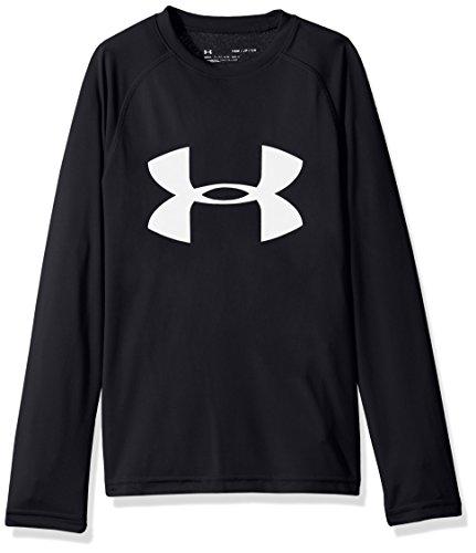 Under Armour Boys' Big Logo Long Sleeve T-Shirt,Black /White, Youth Large