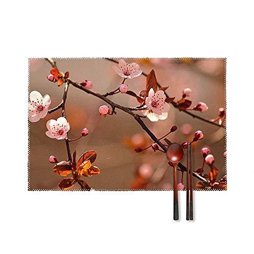 SedExd Un Ensemble de 4 Sets de Table Table Home Garden Barbecue Dessous de Verre décoratifs Blanc 45x30cm,Tapis de Table antidérapant Lavable et résistant à la Chaleur-Cerise Fleur Arbre Rose Fleurs