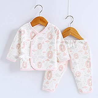 TZOU Baby Underwear Suits Long Sleeves Top and Casual Pants Newborn Infant Cotton Sleepwear Suit for 0-6M Pink Fox 52cm (Recommended 0-2 Months)