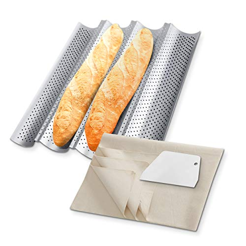 Kokipro French Bread Baguette Pan 15' x 13' Nonstick Perforated Baguette Pans For Baking With Couche For Bread Dough with Dough Scraper, 4 Wave Silver Steel Loaves Loaf Bake Mould Toast Cooking Bakers