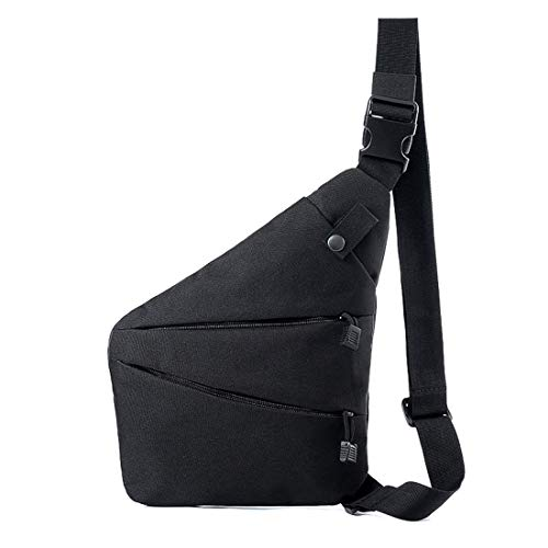 Fashion Left/Right Hand Shoulder Crossbody Bag, Sling Backpack,Multifunction Crossbody Bag for Outdoor Cycling Hiking Travel (Black, Right Hand)