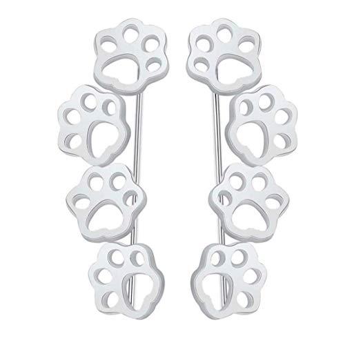 Hotaden 1pair Earrings Cute Paw Trail Cat Dog Footprints Stud Earrings for Women Ear Crawlers Earrings Female Jewelry Silver