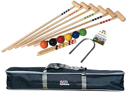 Qualitäts Krocketspiel / Krocket / Crocket für 6 Spieler (100 cm Erwachsenengröße) mit Transporttasche - Der Garten Spielspaß mit Qualitätsware aus Massivholz für die ganze Familie -Made in EU-3246