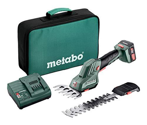 Metabo Strauch-und Grasschere PowerMaxx SGS 12 Q (12 V, mit Akku 2,0 Ah, werkzeugloser Schnellwechsel, für präzise Formschnitte an Büschen + saubere Rasenkanten, inkl. Werkzeugtasche) 601608500, Blau