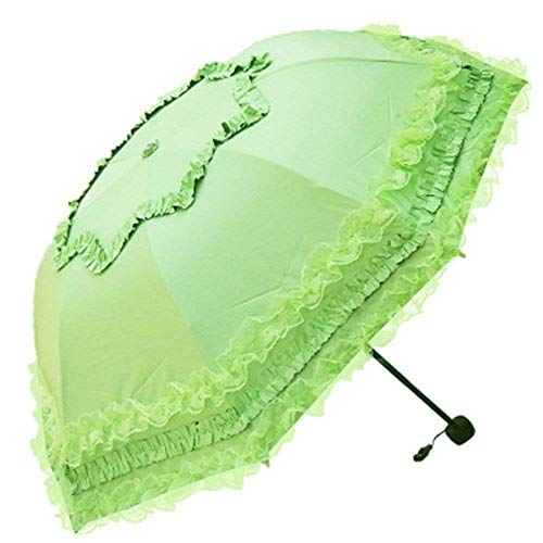 YNHNI Paraguas de encaje moderno, paraguas plegable de verano al aire libre, paraguas de protección solar UV, paraguas doble para mujer, portátil (color verde)