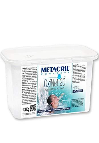 Metacril OXI Net 20 kg.1,2 - Ossigeno Attivo in pastiglie da 20gr- Ideale per Piscina o Idromassaggio (Teuco,Jacuzzi,Dimhora,Intex,Bestway,ECC.) Spedizione IMMEDIATA