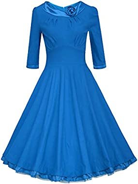 ANGVNS Women's 1950s Vintage 3/4 Sleeve Rockabilly Swing Dress for Party Cocktail, 10 Colors