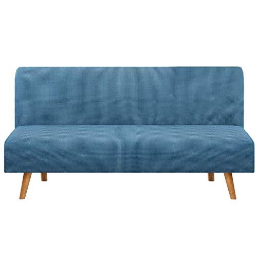 JBNJV Funda de sofá elástica sin Brazos, 1 Pieza Funda de sofá Cama Funda de sofá, Funda de sofá Lavable Protector de Muebles con Fondo elástico para Sala de Estar-Azul Cielo 3 Asientos