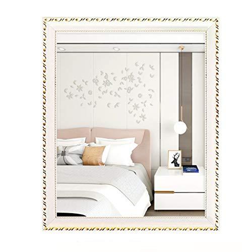 Väggspegel badrumsspegel europeisk stil väggspegel, vägg badrumsspegel med ram makeup-spegel hängande och infoga Dual-Purpose för makeup dressing (färg: Guld vit , storlek: 60 x 80 cm)
