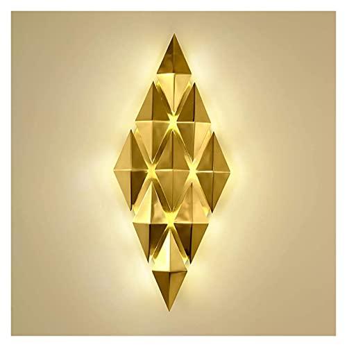 CMMT lámpara de Pared Lámpara de Pared LED Simple para Sala de Estar posmoderna, lámpara de Pared de Bronce con Fondo de TV, lámpara de Pared Decorativa en Forma de Diamante para Dormitorio de Lujo