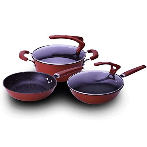 YYCHJU Cookware Set for Gas, Electric and Stovetop Pots and Pans Set 3 Piece Cookware Set Non Stick Induction Tempered Glass Cover Easy to Clean Griddle Pans