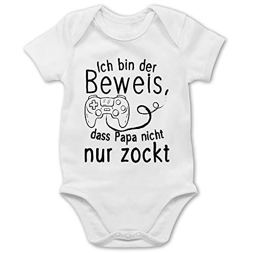 Vatertagsgeschenk Papa Tochter & Sohn Baby - Ich bin der Beweis, dass Papa nicht nur zockt - 1/3 Monate - Weiß - body baby ich bin der beweis - BZ10 - Baby Body kurzarm für Jungen und Mädchen