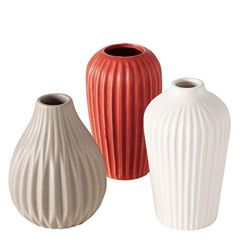 CasaJame 3 Deko Struktur Steingut Vasen Sortiert H14 grau rot weiß