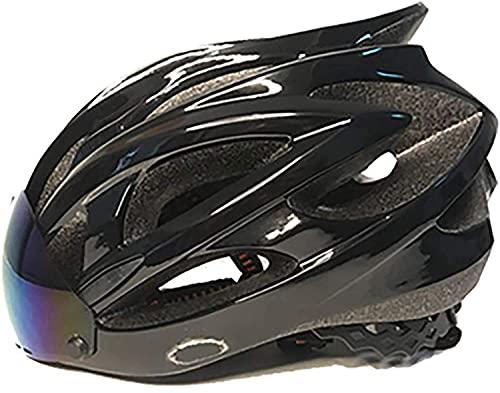 QTQZ Casco de Bicicleta Ligero, aerodinámico Urbano Profesional Ajustable Integrado con Gafas magnéticas Inteligentes Bluetooth incorporadas, estándar CE de la UE