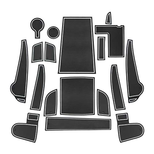 CDEFG für Kona Elektro 2020 Gummi Antirutschmatten Türschlitz rutschfest Anti-Staub Becherhalter Matte Arm Box Aufbewahrung Pads Auto Innere Zubehör (Weiß)