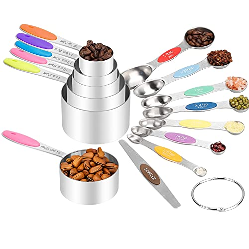 Measuring Cups and Magnetic Measuring Spoons Set, Stainless Steel 13 Piece Set, with Silicone Handle for Dry Liquid Ingredients, kitchen gadgets for Cooking & Baking