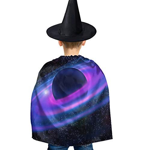 Amoyuan Unisex Kids Kerstmis Halloween Heks Mantel Met Hoed Ruimte Neon Ringen Planet Galaxy Wizard Cape Fancy Jurk