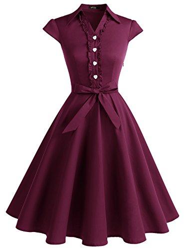 WedTrend Damen 50er Vintage Retro Rockabilly Swing Kleid Kurzer Ärmel Cocktailkleider WTP10007Burgundy3XL