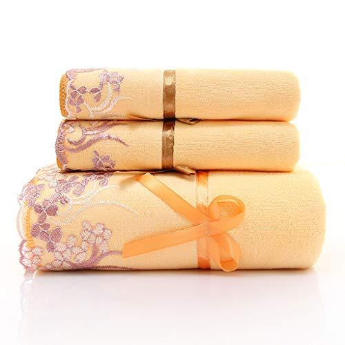 Juego de Toallas amarillas bordadas de baño de 3 Piezas