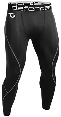 Defender Men's Compression Tights Pants Underlayer Skin Sports Football, 713-blacksilver, X-Large