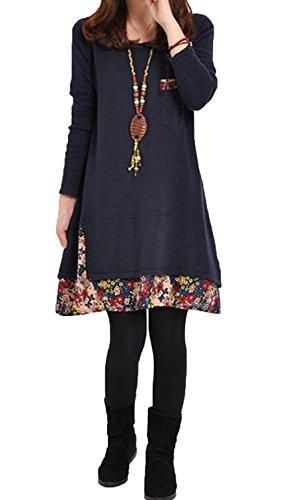 Minetom Damen Mode Strickkleid Langarm Rundhals Lose Beiläufige Pullover Kleid (Blau 38)