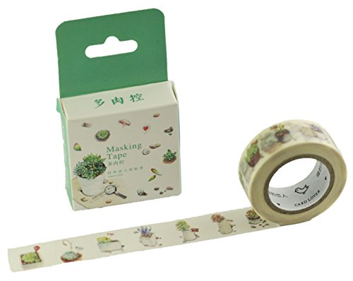 Elfenstall Masking Tape Washi-Tape Motiv-Klebeband zu Dekoratinszwecke Scrappingbook oder zum Basteln 15mm x 10m Design Topfplanzen