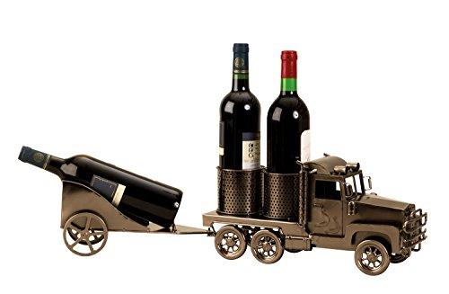 Lifestyle & More Moderner Wein Flaschenhalter Flaschenständer Truck mit Anhänger für 3 Flaschen Länge 66 cm