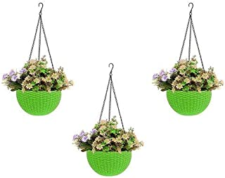 Round Gamla Pot Flower Hanging Round Rattan Woven Plastic Flower Hanging Basket Beautiful Pot for Garden Balcony (3 Pcs, G...