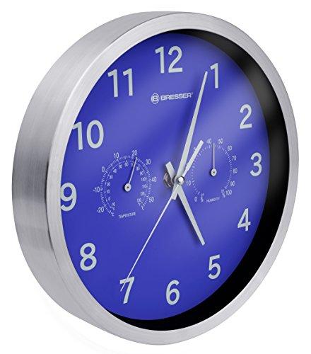 Bresser Funkuhr Wanduhr MyTime Thermo-Hygro mit geräuschlosem Funkuhrwerk, Edelstahlrahmen und Anzeige für Temperatur und Luftfeuchtigkeit, blau
