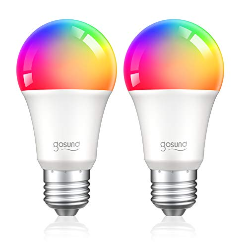 Smart Light Bulb Works with Alexa Google Home, Gosund E26 RGB Color Changing Light Bulb with App 8W A19 Dimmable Smart LED Bulb 75W Equivalent, 2.4GHz WiFi Only, No Hub Required 2 Pack