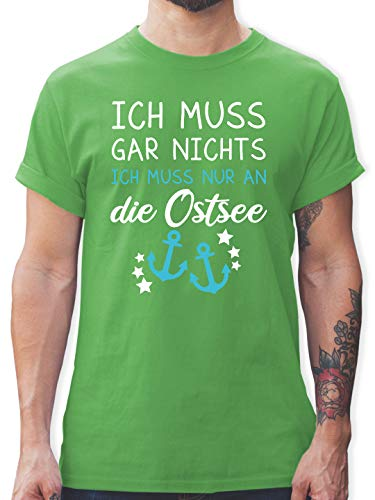 Statement - Ich muss gar Nichts ich muss nur an die Ostsee - L - Grün - Herren t-Shirt ostsee - L190 - Tshirt Herren und Männer T-Shirts