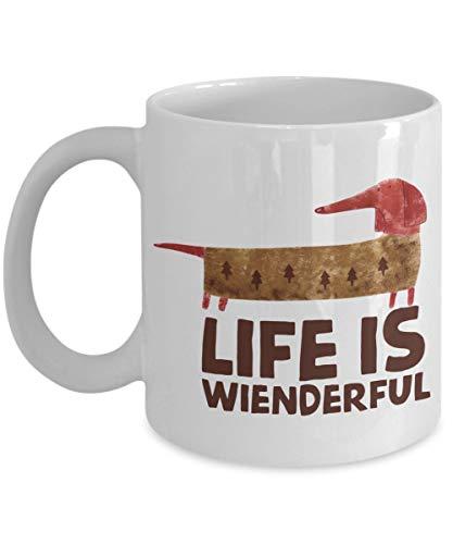Lawenp Life Is Wienderful - Taza de café Dachshund Taza de té, blanco, 11 oz - Regalos únicos