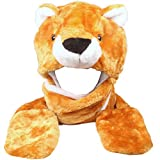 Silver Fever Plush Soft Animal Beanie Hat with Built-in Earmuffs, Scarf, Gloves (Teddy Bear)