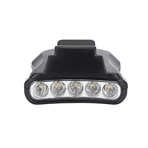 Borlai 5 LED Cap Clip Scheinwerfer Licht Hut Scheinwerfer für Outdoor-Angeln Camping- (Schwarz)
