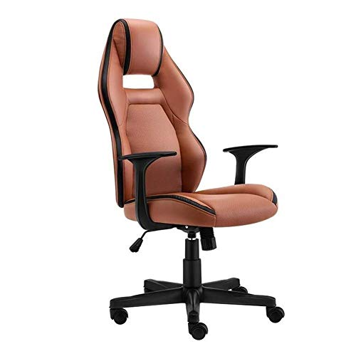 Silla de escritorio de oficina de cuero para juegos, respaldo alto, asiento ergonómico ajustable para tareas de carreras, reposacabezas giratorio (color: marrón)