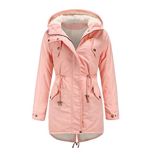 Youmymine Women Winter Down Coat Plus Size Ski Jacket Snowsuit Hooded Zipper Overcoat Windbreaker Raincoat (XXL, Pink)