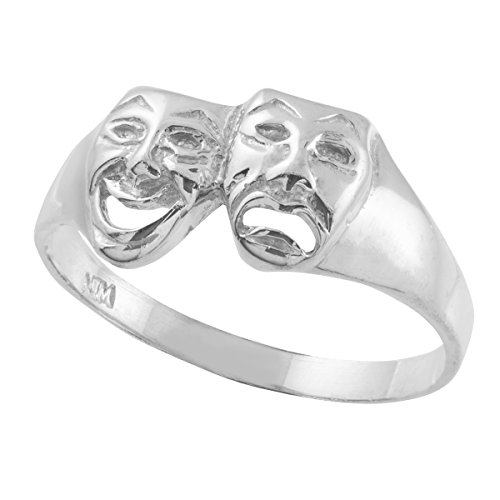 Women's 925 Sterling Silver High Polish Band Theater Acting Masks of Comedy and Tragedy Drama Ring (Size 8)