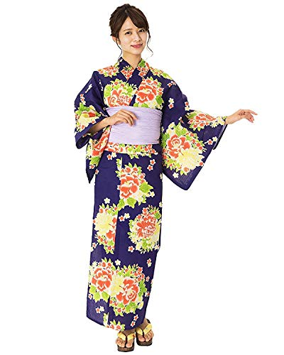 Damen-Yukata von Kyoetsu, Retro-Set, 4-teilig (Yukata / Obi / Geta-Sandale / Unterwäsche) -  Blau -  Einheitsgröße