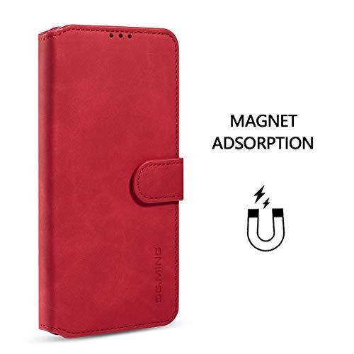 xinyunew Samsung Galaxy A71 Hülle, 360 Grad Handyhülle + Panzerglas Premium Handy Schutzhülle Leder Wallet Tasche Flip Brieftasche Etui Schale (Rot)