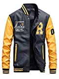 KJHSDNN Baseball Jacke Herren PU Leder Sportjacke mit Samt Stehkragen Bomber College Classic Übegangsjacke
