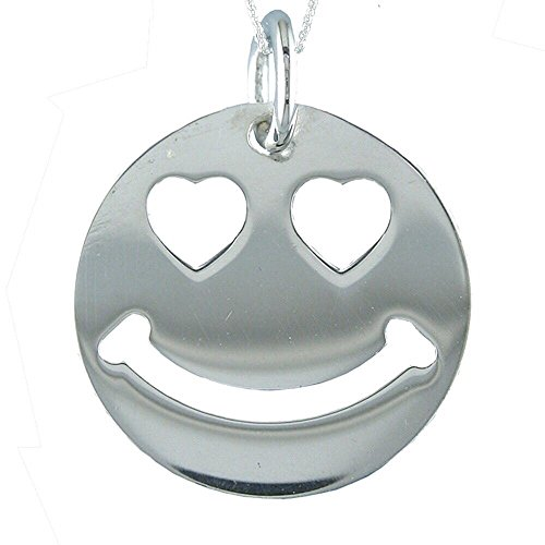 Alylosilver Collar Colgante Emoji Enamorado en Plata para Mujer - Smiley Ojos de Corazon. Incluye una Cadena de Plata 45 cm y Estuche para Regalo
