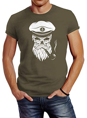 Neverless Herren T-Shirt Totenkopf Kapitän Captain Skull Bard Hipster Original Spirit Seemann Slim Fit Army M