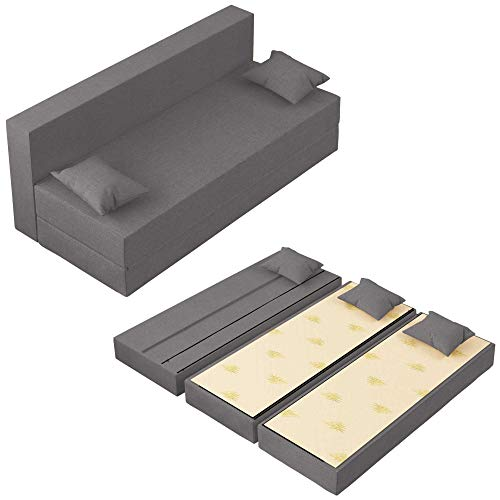 Baldiflex Divano Letto 3 Posti Modello TreTris Rivestimento Sfoderabile e Lavabile, Colore Argento