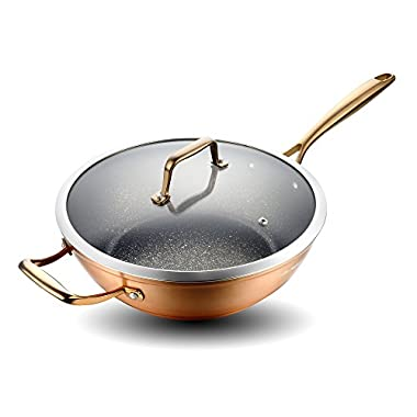 Cate Maker Anodized Aluminum Nonstick Wok with Lid, Induction Flat Bottom Wok Pan, Copper, 12.6 Inch