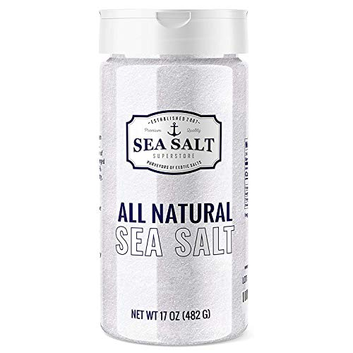 Sea Salt Shaker - All Natural, Pure Sea Salt - No Additives - Fine Grain - Perfect for Seasoning, Brining, Baking, and more, 1.06 Pounds - Sea Salt Superstore